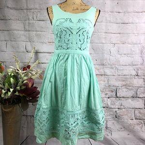 Anthropologie-Meadow Rue Mint Crochet Detail Dress